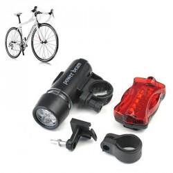 Sada predné + zadné LED svetlo na bicykel 2x5 LED, 6x AAA