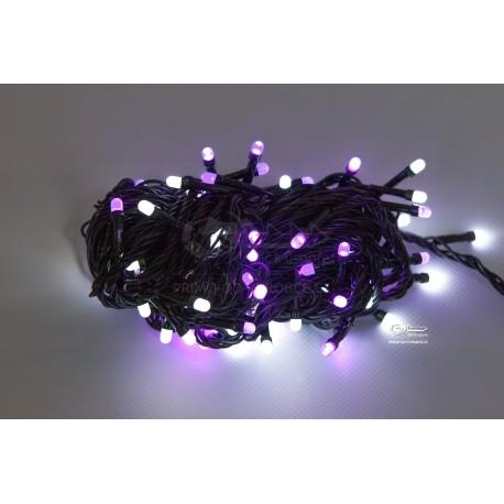 Vianočná LED reťaz - osvetlenie - Fialovo / Biele - 100 LED 10 metrov
