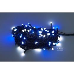 Vianočná LED reťaz - osvetlenie - Modro / Biele - 100 LED 10 metrov