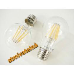 Stmievateľná LED žiarovka E27 8W FILAMENT teplá biela