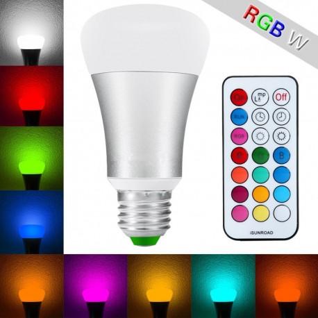 LED žárovka RGBW 10W E27 - 330° - RGB + Teplá bílá