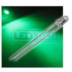 LED dióda 3mm zelená round 30°
