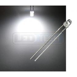 LED dióda 3mm studená biela ploché čelo 100°