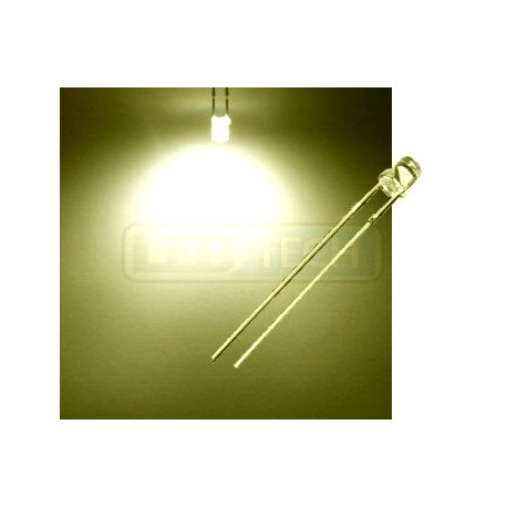 LED dióda 3mm teplá biela ploché čelo 100°