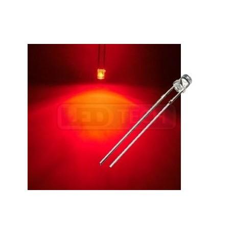 LED dióda 3mm červená ploché čelo 100°