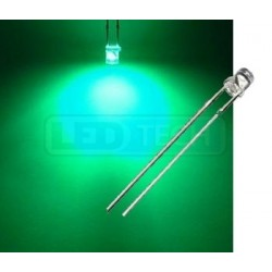 LED dióda 3mm zelená ploché čelo 100°