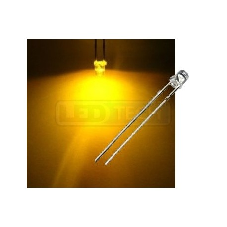 LED dióda 3mm žltá ploché čelo 100°