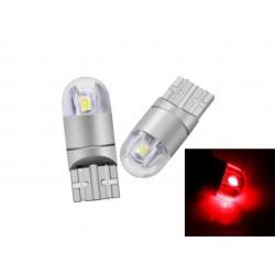 LED žárovka T10 W5W 2 smd 3030 boční svit červená