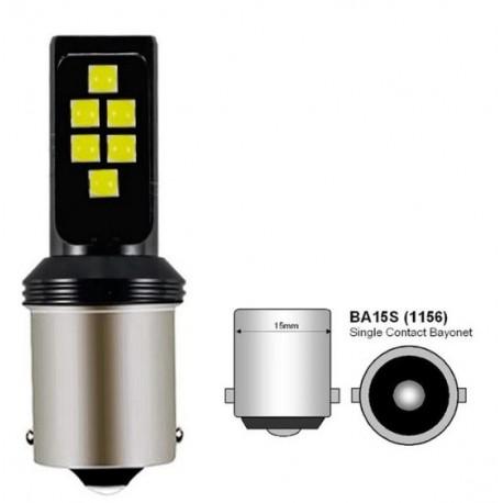 LED žárovka BA15S 3030 LED 6W červená