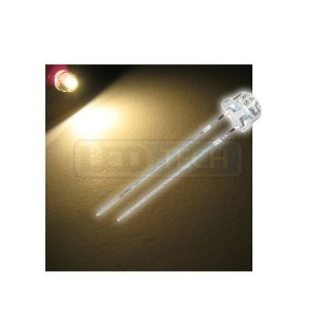 LED dióda 5mm teplá biela straw hat 120°