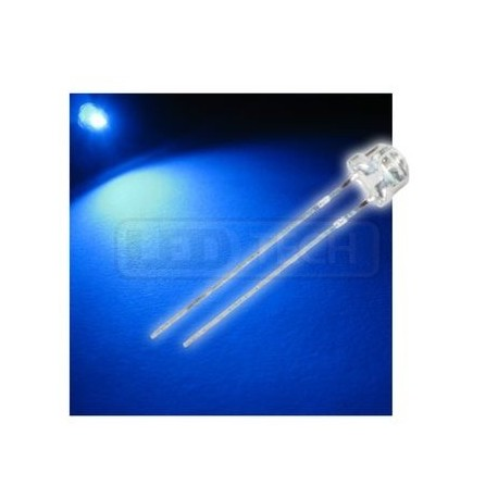 LED dióda 5mm modrá straw hat 120°