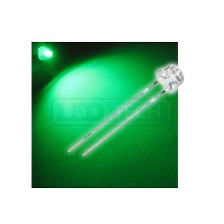 LED dióda 5mm zelená straw hat 120°