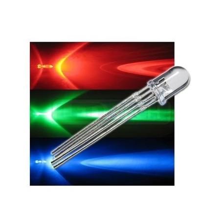 LED dióda RGB 5mm 4PIN - napájanie anódou (+) číra