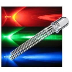 LED dióda RGB 5mm 4PIN - napájanie anódou (+) difúzna